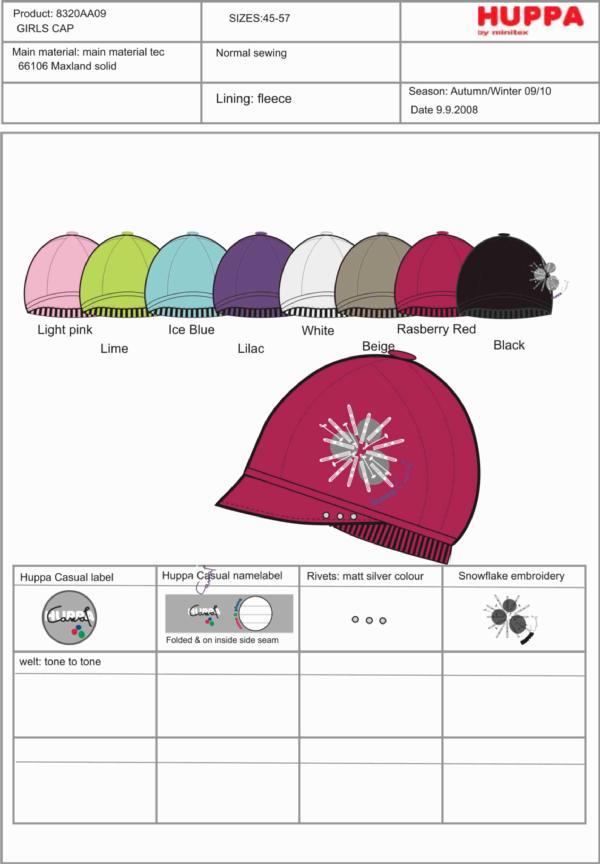 8320AA09 Girls`Hat, размеры 45,47,49,51,53,55,57
